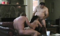 Cheating Brunette Busted On Hidden Camera In Threesome