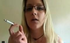 Blonde with big tits smoking