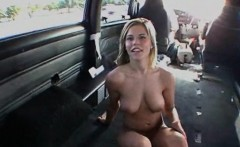 Sensual naked blonde giving boner in the bus