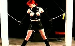 Filthy redhead gets her tits smashed in BDSM scene