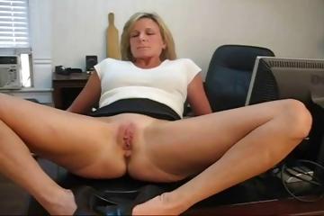 Mature Blonde Secretary Spreads Her Legs And Masturbates On @ Nuvid