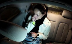 Cheated busty girlfriend fucks in taxi