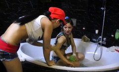 Teen Girls Play In Bath