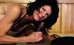 Naughty white mature giving head to a BBC