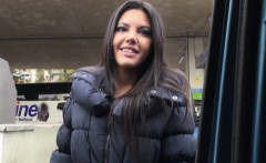 Beautiful stranded teen Apolonia fucked and jizzed in public