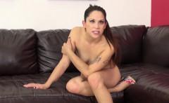 Elegant brunette Katt Lowden exposes her sexy slim body on the couch