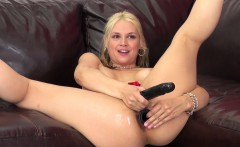 Blonde babe Sarah Vandella toys herself and shoves one in her butt