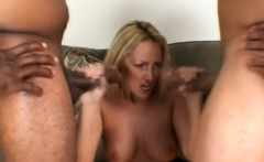 Stacked blonde beauty plays out her fantasy with two hung black guys