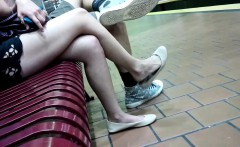 attractive young woman with nice legs gets filmed by a horn