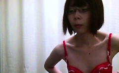 Skinny Asian babes with small boobs remove their bras in dr