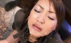 Attractive Japanese MILF bukkake