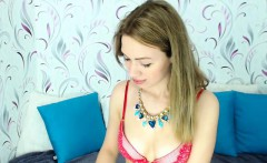 Sweet young blonde with tiny tits wears a pink bra and neck