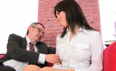 Natural college girl is tempted and plowed by her older ment