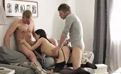 Brunette honey blows and bangs two cocks and then gets ass fucked