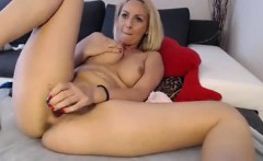 Attractive blonde milf at masturbating and home stripteasin