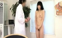 Skinny Asian girl goes in for a checkup and gets naked and