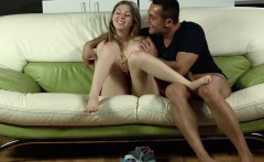 Cute teen gapes pink cunt and gets deflorated