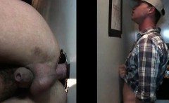 Sexy gay gets butt hammered on gloryhole