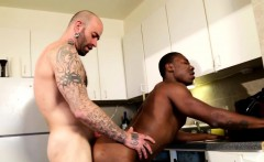 Black stud bottoms white cock after blowjob