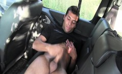 Outdoor hunk jerking his hard dick in the car