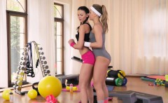 Fit lesbian teen licked by her coach