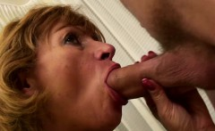 Natural Gilf Sucking A Huge Hairy Cock