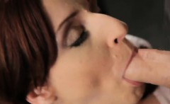 Redhead Aria Is Stimulated While Blowing