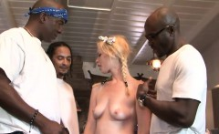 Kinky blonde gets her pussy nailed by big black cocks
