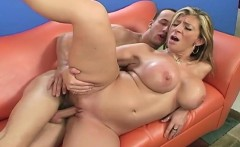 Big breasted blonde mom fulfills her need for young meat and hard sex