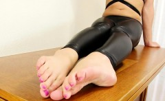 Toes fetish tgirl teasing with painted toes