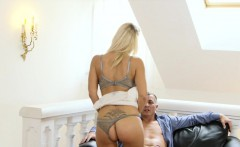 Beautiful blonde Milf fucking hard on the sofa