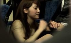 Public japanese babe jerking passenger on bus