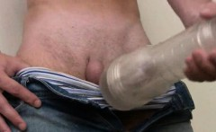 Twink fan of deep throat jobs puts to use his new toy