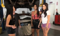 Sexy women convinced to flash their tits in car garage
