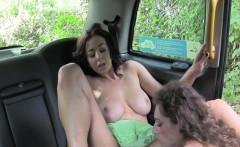 Lesbian cab driver fucks busty milf