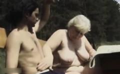 Fat grandma blow outdoor