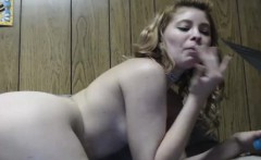 Blonde Babe Masturbates and Eats her Own Cum