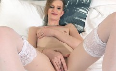 Trans mature toying her ass with buttplug