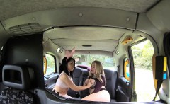 Female Fake Taxi Cute Asian has Lesbian bonnet sex