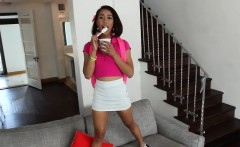 Mixed race Aria eats icecream and cock
