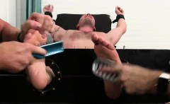 Hot muscle guy Jake Karhoff immobilized and tickled hard by