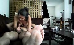 slut milf Carill sucks on sofa and comes hidden cam