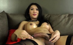 Masturbating ladyboy beauty drops huge load