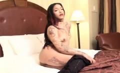 Tattooed tgirl beauty pulling her black cock