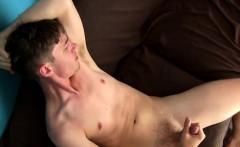 Skinny twink dude enjoys wanking his hairy pecker all alone