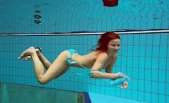 Hairy pussy teen Deniska in the pool