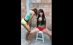 Lesbian sex of brunette and redhead