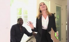 Big tit MILF realtor deepthroats clients BBC