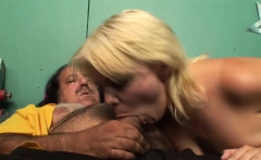 Sexy blonde enjoys an older pecker