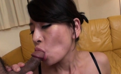 Lustful japanese gets with large dildo, fingering pussy